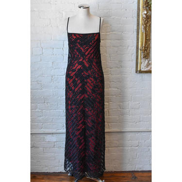 1990's | Vivienne Tam | Vintage Black and Red Floral Dress with Sheer Mesh Overlay by LadyofLizard
