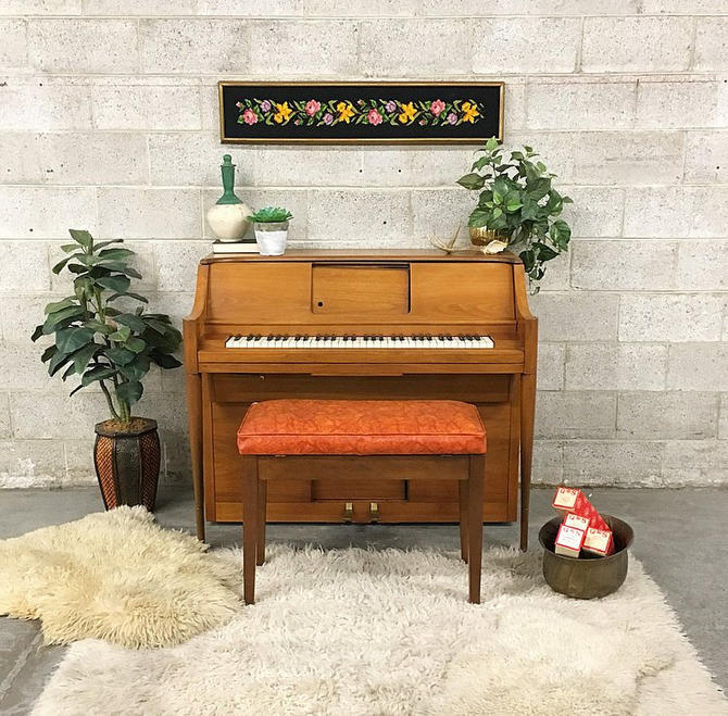 LOCAL PICKUP ONLY Vintage Player Piano Retro 1960s Aeolian Pianola Mid Century Modern with Vinyl Storage Bench + 5 Bags Paper Roll Music by RetrospectVintage215