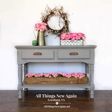 Gray Sofa Table | Grey Sofa Table | Country Farmhouse Sofa Table | Rustic Gray Table | Entry/Foyer Table | Gray Sideboard | Rustic Sideboard by AllThingsNewAgainVA