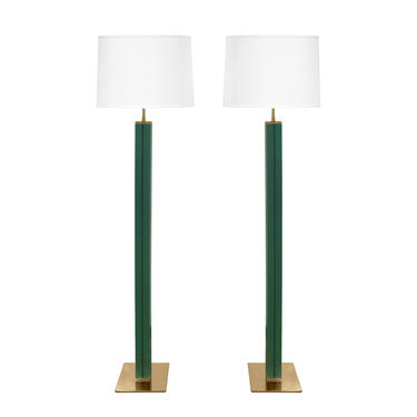 Karl Springer Pair of Floor Lamps in Green Emu Leather 1970s