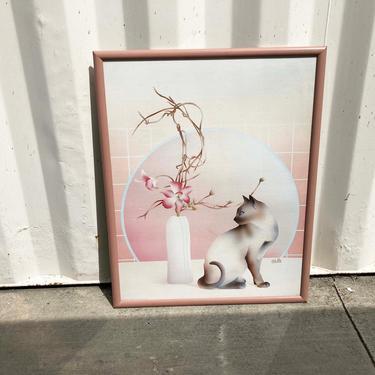 "Vintage 80s Carlos Rios  Cat Flowers Framed Art 24"" x 30""  - 1980s Pink Framed Artwork Wall Art - Ikebana Siamese Cat - Home Decor by MILKTEETHS"
