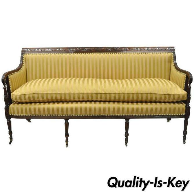 19th C Classical American Federal Cornucopia Carved Mahogany Sheraton Style Sofa