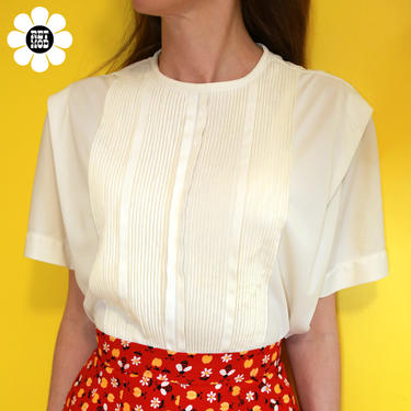 Lovely Vintage 50s Off-White Nylon Short Sleeve Blouse with Pintucks by RETMOD