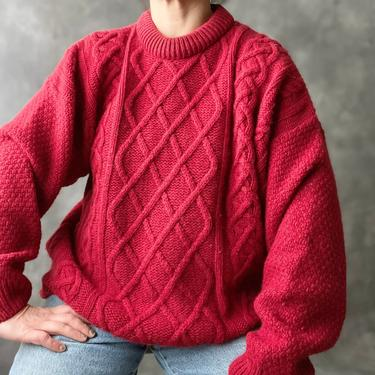 """Vintage Cranberry Red Aran Irish Wool Cable knit Sweater, 48"""" by Northforkvintageshop"""