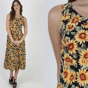 90s Sunflower Print Dress / Vintage 1990s Big Sun Flower Dress / Traditional Black Grunge Dress / Skater Pleated Babydoll Black Maxi Dress by americanarchive