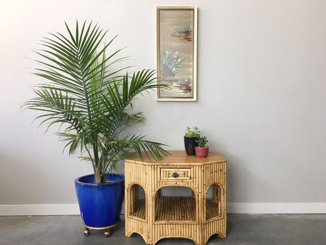 vintage mid century bamboo side table.