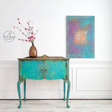 Petite Buffet. Queen Anne Buffet. Boho Table. Accent Table. Painted Mediterranean Buffet. Southwest Decor. Painted Furniture by AminiDesignAshburn