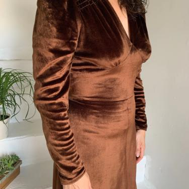 1970s Does 1940s Chocolate Velveteen Dress From Hungary 38 Bust Vintage by AmalgamatedShop
