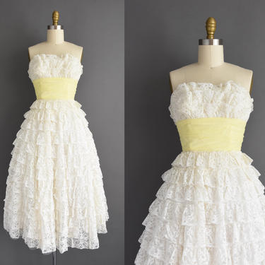 vintage 1950s dress | XXS | Strapless white tier lace full skirt party prom dress | 50s dress by simplicityisbliss