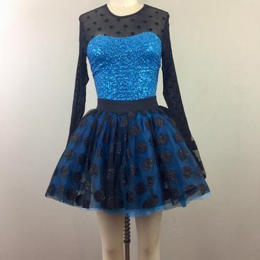 Vintage Polka Dot Sequin Dance Costume Tutu Leotard Onesie Blue Black Ballet Skating S by FlashbackATX