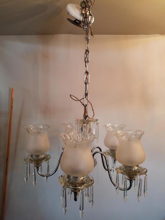 Early 20th Century 5 Arm Chrome Plated Brass Chandelier