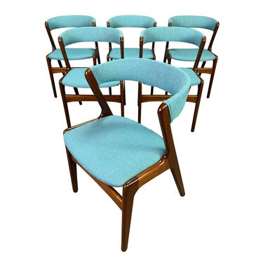 Vintage Danish Mid Century Modern Mahogany Dining Chairs in the Manner of Kai Kristiansen. Set of Six. by AymerickModern