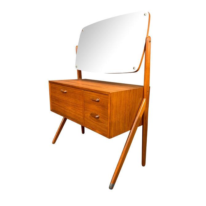 Vintage Danish Mid Century Modern Teak Vanity Dressing Table With Mirror by Sigfried Omann by AymerickModern