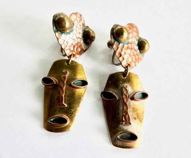 Mexican Mask Copper Earrings by LegendaryBeast