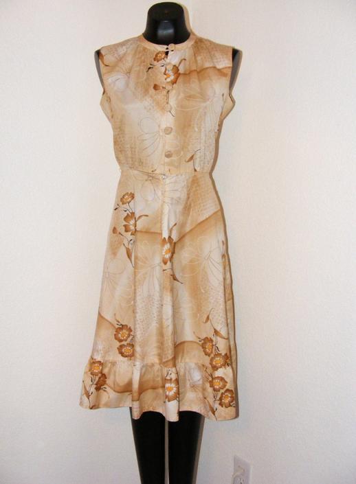 Vintage 1970s Brown Floral Print Dress by AllMyItems