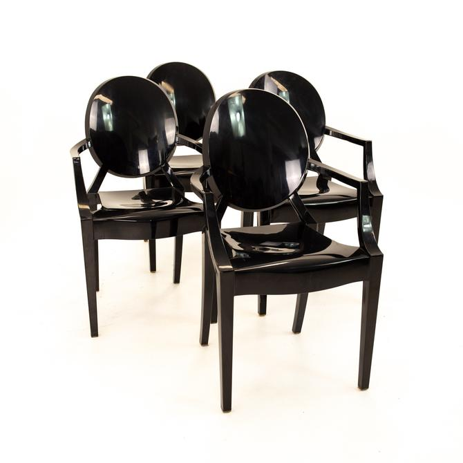 Kartell Mid Century Black Acrylic Ghost Dining Chairs - Set of 4 - mcm by ModernHill
