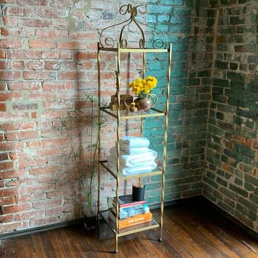 Tall etagere / bookshelf / open display cabinet (metal with glass shelves)
