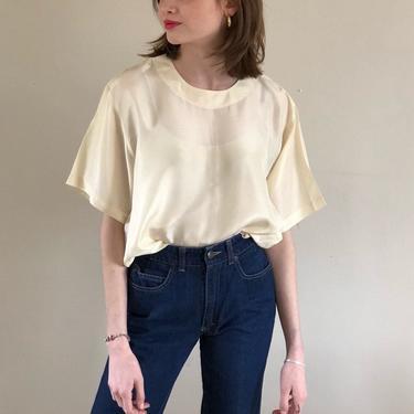 90s charmeuse box tee blouse / vintage ivory silk charmeuse short sleeve box tee crewneck blouse   L by RecapVintageStudio