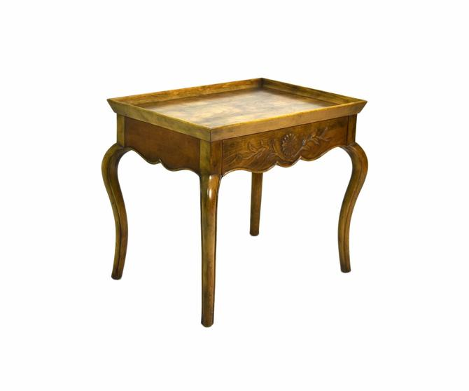 Fine Vintage Baker Queen Anne Style Carved Walnut End Side Table by PrairielandArt
