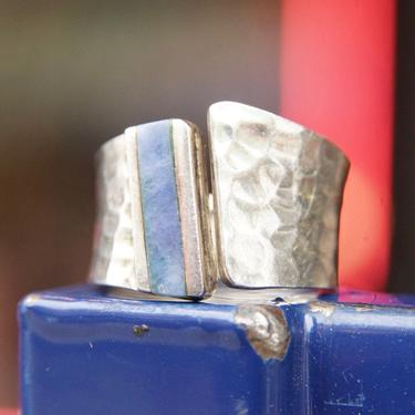 Vintage Hammered Sterling Silver Inlaid Gemstone Ring, Marbled Blue Stone, Textured Silver Cuff Ring, Adjustable, 925 Jewelry by shopGoodsVintage