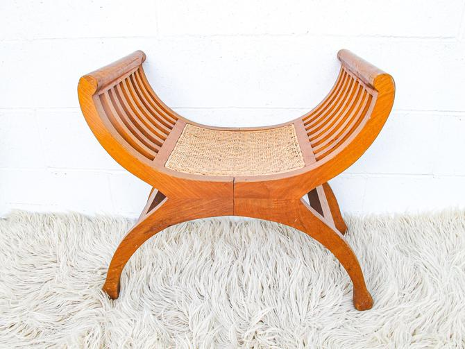 Mid-century Wood Stool with Woven Seat - Made in Indonesia by PortlandRevibe