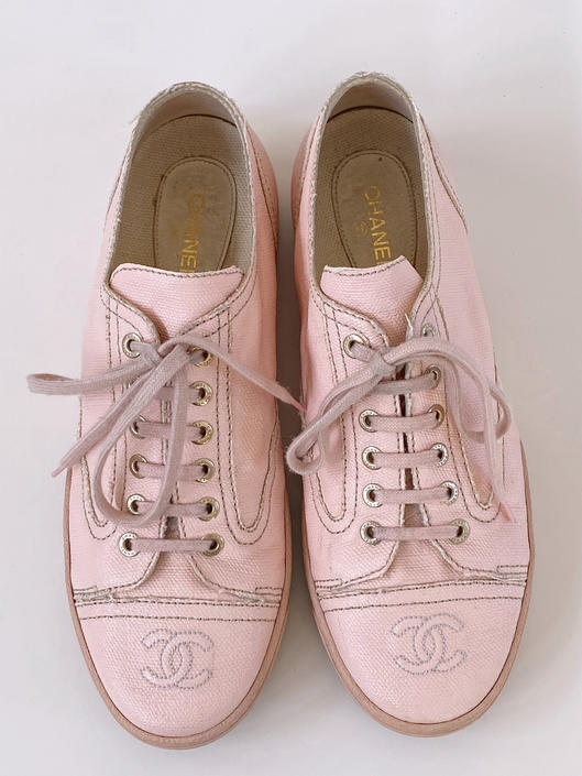 Vintage CHANEL CC Logos Baby Pink Fabric Sneakers Trainers Tennis shoes 40 us 8.5 - 9 by MoonStoneVintageLA