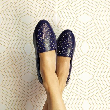 Vintage 1980s Purple Loafers with Gold Rhinestones, Vintage Loafers, 80s Shoes, 80s Vintage, 80s Slip Ons, Vintage Shoes by FolkandCup