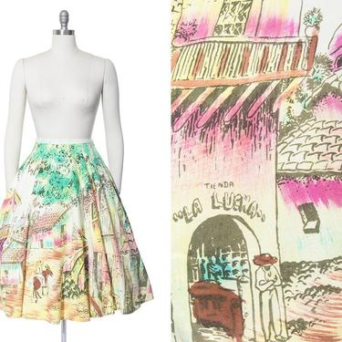 Vintage 1950s Skirt   50s Mexican Novelty Print Hand Painted Cotton Village Tourist Souvenir Skirt (large) by BirthdayLifeVintage