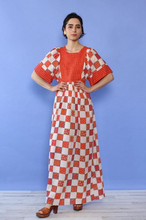 Gilead Patchwork Print Dress XS-M