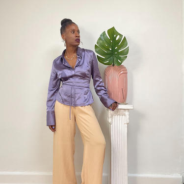 Vintage 1990s 90s 00s Y2k Silky Satin Shirt Blouse Top Purple Lavender V-neck Side Zip Side Tie Extra Long Sleeve Fitted Waist Cummerbund by KeepersVintage
