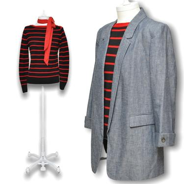 Vintage Lauren Ralph Lauren Navy Blue and Red Striped Nautical Sailor Sweater S by TheUnapologeticSoul