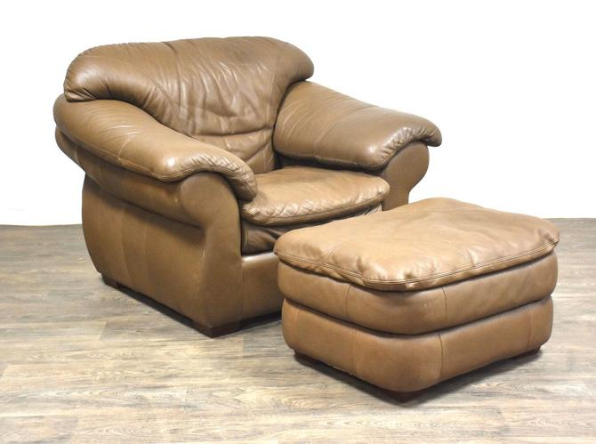 Robinson and Robinson Beige Leather Chair and Ottoman by mixedmodern1