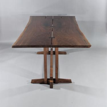 Live edge solid walnut desk or dining table inspired by Genorge Nakashima Frenchman Cove 2 by GRWoodworker