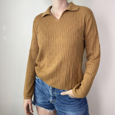2) Vintage caramel thin knit layering collared shirt 1970s style unisex men's small women's medium-large by GRACEandCATS