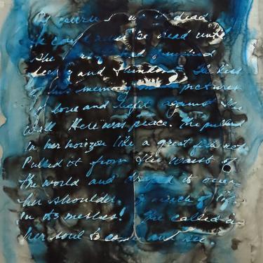 The Kiss of Memory: Original ink painting on yupo of brain - neuroscience art literature Zora Neale Hurston by artologica