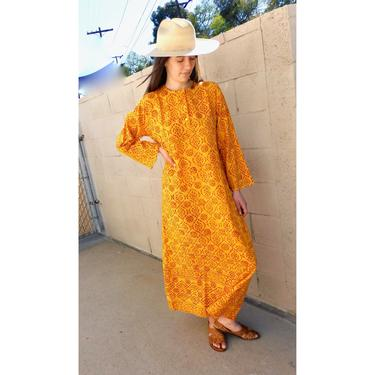 Indian Sunflower Dress // vintage boho hand blocked cotton hippie hippy maxi 70s yellow orange // S/M by FenixVintage