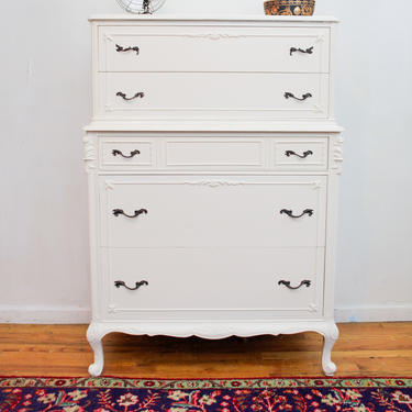 White Antique Highboy Dresser, French Provincial White Dresser, Chest of Drawers, Chic Dresser, Painted Dresser, Free NYC Delivery by AntiqueBoutiqueNYC