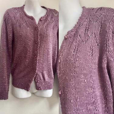 Vintage LeRoy 70's LAVENDER EYELET Slub Knit CARDIGAN Sweater / Romantic Victorian Inspired / L by CharmVintageBoutique