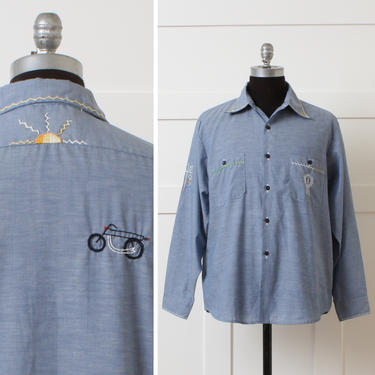 mens vintage 1970s lightweight chambray shirt • embroidered casual button down shirt • desert motorcycle cactus & sun by LivingThreadsVintage