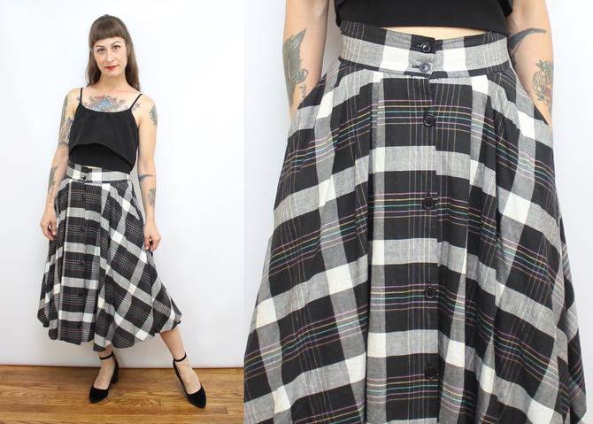 0ebc6c57b Vintage 80's Black and White Plaid Grid A-Line Skirt with ...
