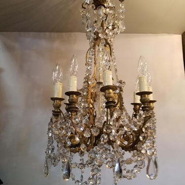 Solid Cast Brass & Crystal Chandelier. 10 Arms! 17 x 40.