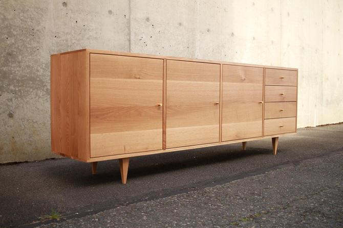 Danish Modern Console, Mid-Century Modern, Modern Solid Hardwood Sideboard, Modern Credenza (Shown in White Oak) by TomfooleryWood