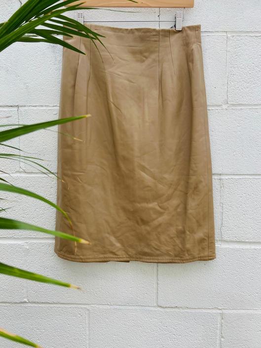 Tan Neiman Marcus Leather Skirt