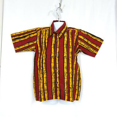 Boys button down short sleeve Ankara shirt (Red  and yellow sticks) by GLAMMfashions
