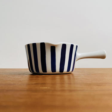Lyngby Danmark Dan-ild sauce boat or gravy pourer / mid-century striped blue and white dish with handle and spout / MCM Scandinavian kitchen by EarthshipVintage