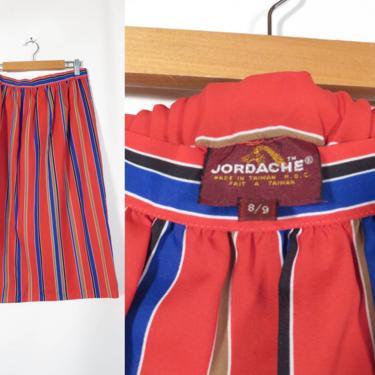 Vintage 80s/90s Jordache Lightweight Summer Striped Elastic Waist Midi Skirt With Pockets Size M/L by VelvetCastleVintage