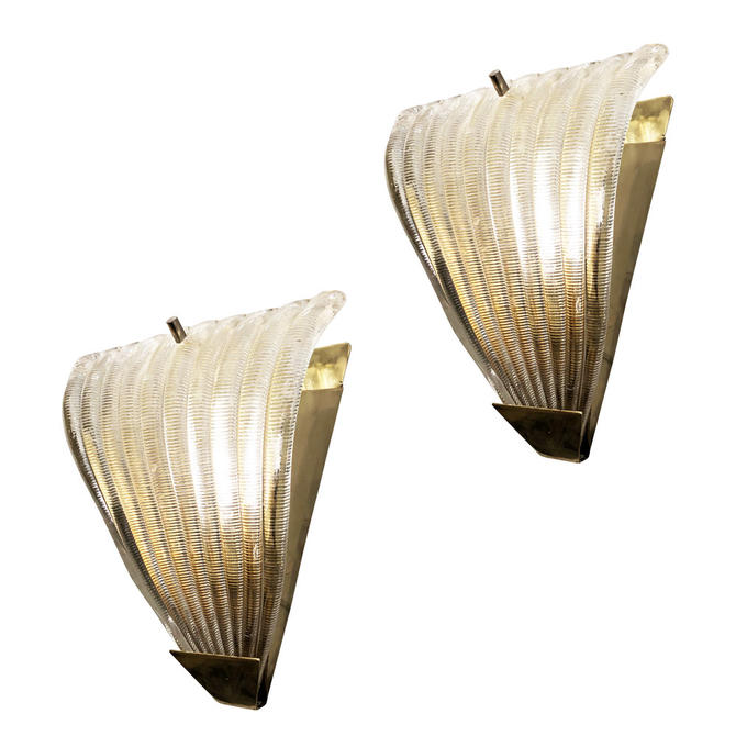 Ribbed Murano Glass Sconces, Italy, 1960's
