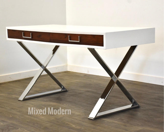 Rosewood and White Lacquer Desk by Milo Baughman by mixedmodern1