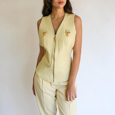 Vintage 80s 90s Alberto Makali Cream Leather Gold Chain Vest with High Waisted Pant Set | Made in USA | 1980s 1990s Designer Two Piece Suit by TheVault1969