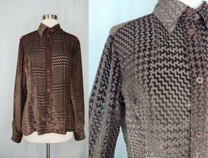 Vintage 90s Gianfranco Ferre Jeans Brown Velvet Houndstooth Burnout Silk Blend Long Sleeve Blouse - Nineties Medium Button Up Shirt by JanetandJaneVintage